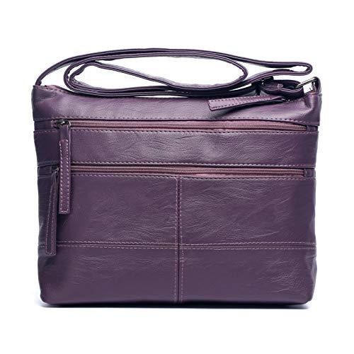Multi Pocket Crossbody Bag for Women Volganik Rock Soft PU Leather Shoulder Bag Lightweight Purse and Handbags ()