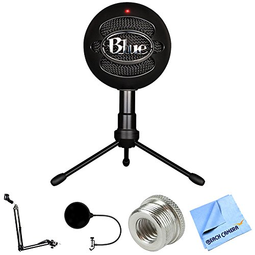 Price comparison product image Blue Microphones Snowball iCE Versatile USB Microphone - Black (SNOWBALL iCE Black) + Suspension Boom Scissor Arm Stand + Pop Filter Microphone Wind Screen + Mic Stand Adapter + MicroFiber Cloth