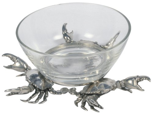 Coastal Christmas Tablescape Décor - Large 3-crab pewter base clear glass dip bowl by Vagabond House