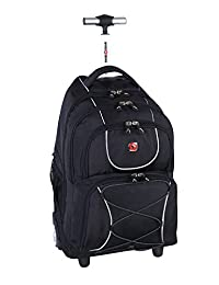 Swiss Gear International Carry-On size Wheeled Laptop Backpack - Holds Up to 15.6-Inch Laptop, Black
