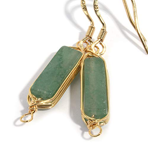 Natural Stone Wire Wrap Dangle Drop Earrings Gold Plated 925 Sterling Silver Hook/Aventurine 14mm Bar