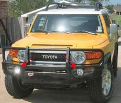 White Angel Eye Fog Lamps Compatible With 2006-2013 Toyota FJ Cruiser ARB Deluxe Bar Brush Guard