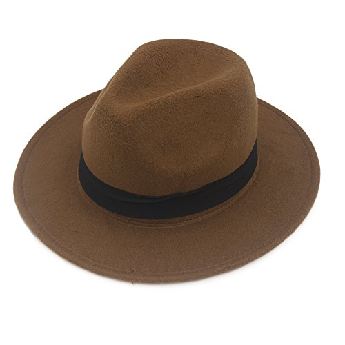 NE Norboe Women's Wide Brim Elegant Luxury Panama Fedora Hat Wool Cap with Strap (Brown)
