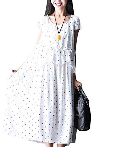 Youlee Mujeres Manga Corta Algodón Vestir para Verano Blanco