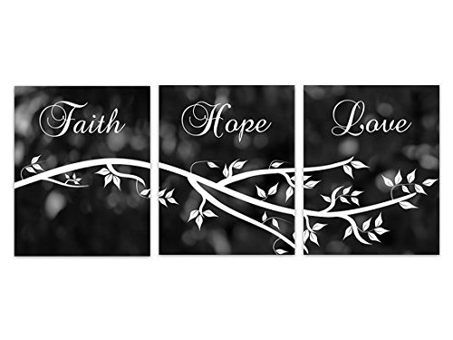 Black and White Bokeh - ''Faith Hope Love'' Wall Art Prints - HOME164 by Wall Art Boutique