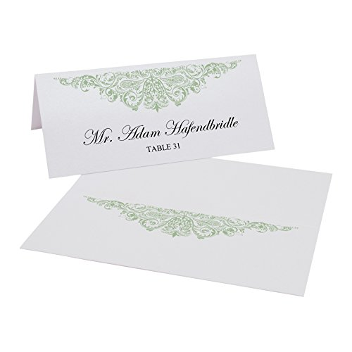 Documents and Designs Paisley Easy Print Place Cards (Select Color/Quantity), White, Sage, Set of 225 (38 Sheets)