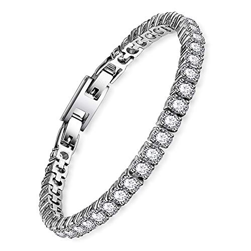 BOFEE Tennis Bracelet for Women Glitter Round Cut Cubic Zirconia Lucky Eternity Bracelet 316T Stainless Steel Link Lady Jewelry Bracelet for Valentines Gift (7.3 inches)