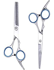 Etereauty Hair Cutting Scissors Set, Professional Barber Thinning Haircut Scissors Kit Stainless Steel with Detachable Finger Inserts Salon Razor Scissor
