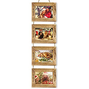 DLQuarts Collage Hanging Picture Photo Frame 5 x 7, 4-Frame Set On Hanging Rope, Rustic Solid Wood Photo Frame Carbonized Black, Best Gift Choice
