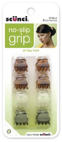 Scunci No-slip Grip Mini Oval Top Jaw Clips, 8 Count