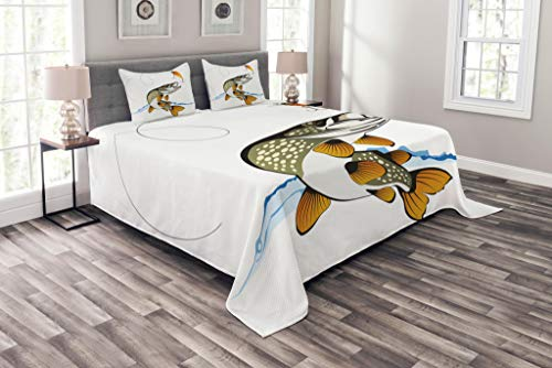 Lunarable Fishing Coverlet Set Queen Size, Pike Out of Water Splash to Catch The Trap Lure Tackling Marine Life Illustration, Decorative Quilted 3 Piece Bedspread Set with 2 Pillow Shams, Multicolor