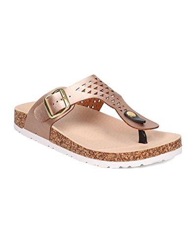 Metallic T-strap Sandals - 9
