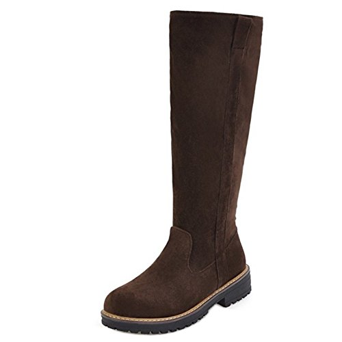 KemeKiss Long 5 Zipper Brown Boots Women r7g4xZr