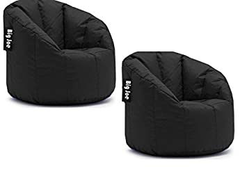 Surprising Big Joe Milano Bean Bag Chair Filled With Ultimax Beans Soft But Firm Support Set Of 2 Limo Black Machost Co Dining Chair Design Ideas Machostcouk