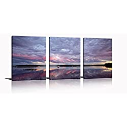 YPY Oil Paintings Beach Sunset Wall Art for Home Living Room Bedroom Office Ready to Hang Canvas Material Framed 3 Panels 12x16in