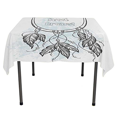 All of better Sweet Dreams Dining Table Cover Doodle Hand Drawn Dream Catcher Ethnic Aztec Culture Inspired Design Grey and Pale Blue Waterproof tablecloths Spring/Summer/Party/Picnic 36 by 36