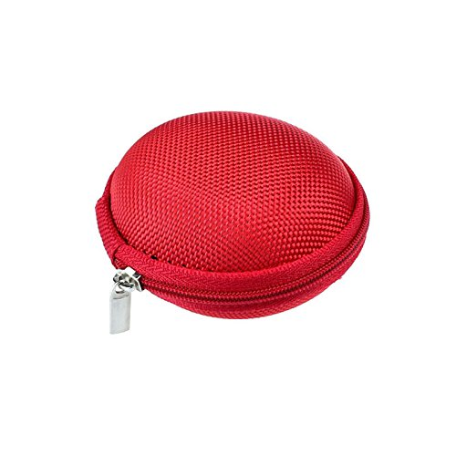 Price comparison product image Nyalex - PU Leather Zipper Protective Headphone Case Pouch Usb Cable Organizer Cute Earphone Storage Bag Soft Headset Earbuds Boxes [Red ]
