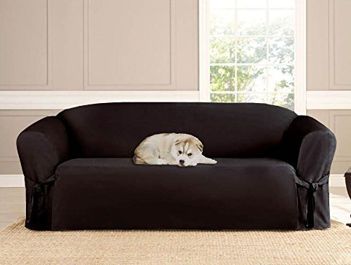 Kashi Micro-suede Slipcover Sofa Loveseat Chair Furniture Cover (Sofa, Black)