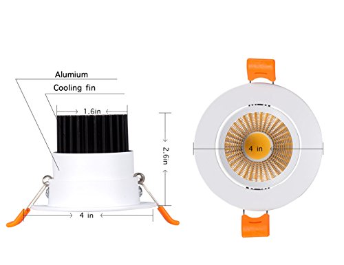 Dimmable 5W Recessed LED Downlight,Cut-Out 2.5in 60 Beam Angle 3000K Warm White Ceiling Light with Driver by SKYGROWPARD (Image #2)'