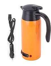 800ml 12V 24V Grote Capaciteit Draagbare Waterkoker, Water Verwarming Mok Auto Waterkoker Auto Verwarming Mok voor Auto en Vrachtwagen Gebruik (Oranje)(Oranje)