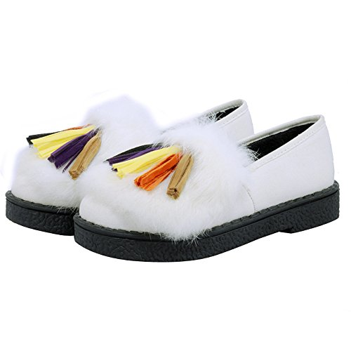 ENMAYER Mujeres Erweiterte Echten Kaninchenfell Quaste Bequeme matte Stoff Rutschfeste Schuhe Blanco