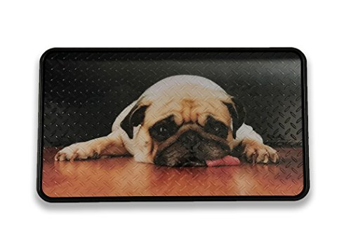 Resilia - Premium Boot Tray, Shoe Tray, and Floor Mat - Pug Print Insert with a Black Tray, 17 Inches x 28 Inches, Made in The USA