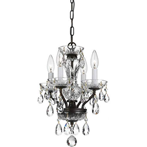 Crystal Mini Four Light Chandelier - Crystorama 5534-EB-CL-I Crystal Four Light Mini Chandelier from Traditional Crystal collection in Bronze/Darkfinish, 11.00 inches