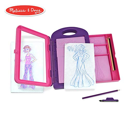 Melissa & Doug Fashion Design Activity Kit (Arts & Crafts, 9 Double-Sided Rubbing Plates, 4 Pencils, Crayon, 16 -
