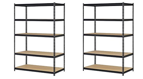 - Edsal URWM184872BK Black Steel Storage Rack, 5 Adjustable Shelves, 4000 lb. Capacity, 72