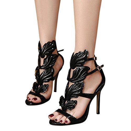 Scarpe Alti Alto Tacco Moda Womens Nero Wyxlink Sandali Sandali Flame Pompe Sexy Tacchi Toe Peep Donna Foglia 86z0xz