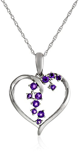 Starburst Heart (10k White Gold Amethyst Starburst Heart Amethyst Pendant Necklace, 18