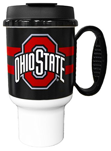 GameDay Novelty NCAA Ohio State Buckeyes Striped Insulated Travel Mug with No Spill Flip Lid & Handle, 20 oz