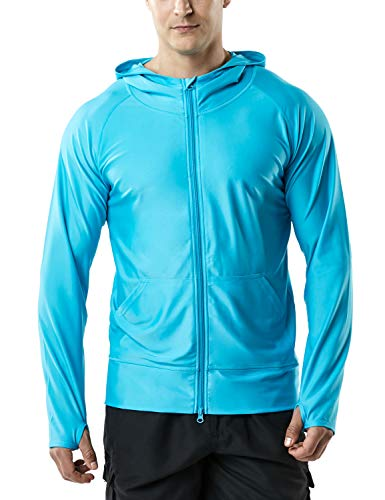 TSLA Men's UPF 50+ Zip Swim Front Long Sleeve Top Rashguard, Zip Hoodie(msz05) - Sky Blue, X-Large