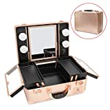 Superstore Makeup Case with Dimmable LED Bulbs and Tilt Mirror Lighted Cosmetics Organizer Storage Case Box Travel Beauty Vanity Handle Case w/Customized Divider Trays