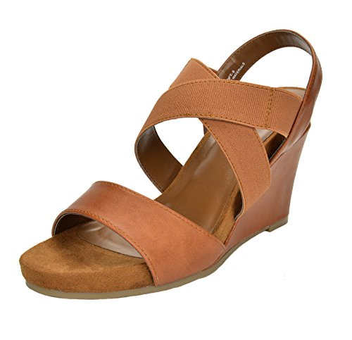 Mid Platforms Heel (TOETOS Women's Solsoft-8 Tan Mid Heel Platform Wedges Sandals - 8.5 M US)