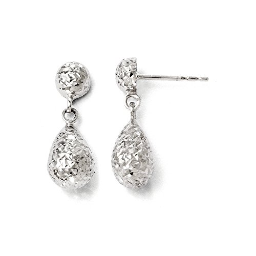 Diamond Teardrop Post Earrings - Diamond Cut Teardrop Post Dangle Earrings in 14k White Gold, 20mm