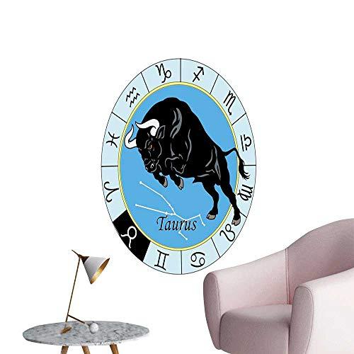 Jaydevn Taurus Wall Sticker self-Adhesive Zodiac Calendar with Bull Inside Celestial Creature Character Esoteric Print Elevator Stairs Wall Light Blue Black W24 x - Nyc Calendar Print
