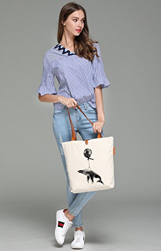 So'each Women's Cute Whale Graphic Top Handle Canvas Tote Shoulder Bag