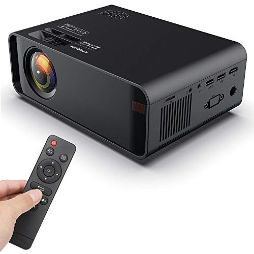LCD Projector, HD 720P 3D 1500 Lumens Portable Multimedia Projector Built-in Loudspeaker Compatible with USB, HDMI, VGA, AV, TF Home Cinema Projector for TV, PC, PS4, Xbox, etc.(us) from Ciglow