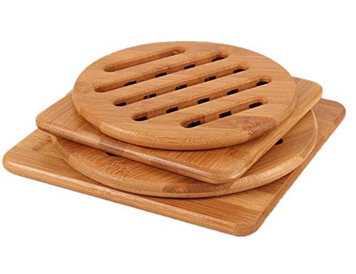 (Bamboo Trivet, Weikai Home Kitchen Bamboo Hot Pads Trivet, Heat Resistant Pads Teapot Trivet, Square and Round (Multi-size, Pack of 4))
