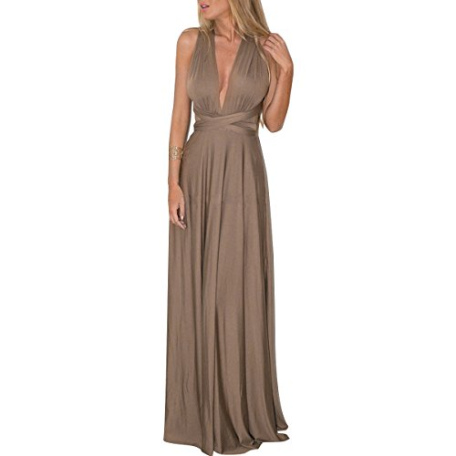 IWEMEK Women Transformer Infinity Evening Dress Multi-Way Wrap Convertible Halter Maxi Floor Long Dress High Elasticity Brown, Medium