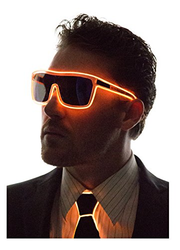 Neon Nightlife Orange Frame/ Tinted Single Lens Tron Style Light Up Glasses