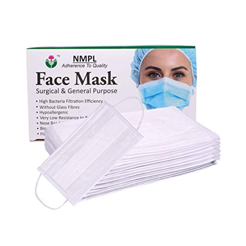 NMPL 3 Ply Meltblown Disposable Surgical Face Mask with Nose Pin  Pack of 50   White