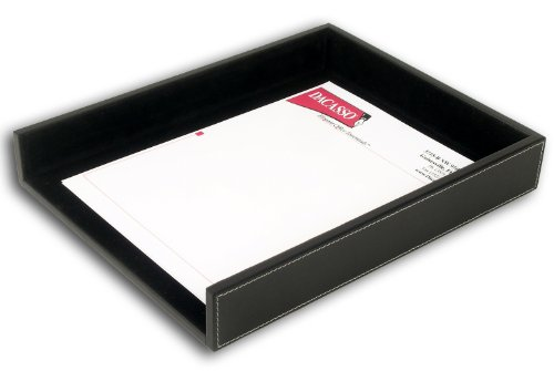 Dacasso Rustic Black Leather Letter Tray