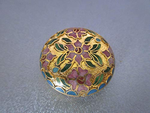 Gold Cloisonne Coin Shape Bead 1pc #ID-868