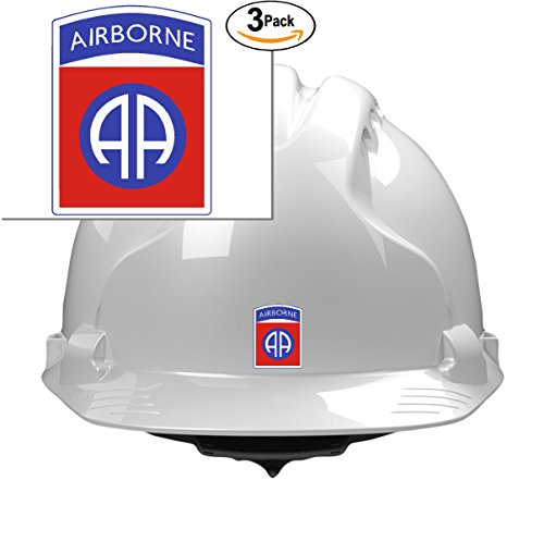 Airborne Sticker ((3) 82nd airborne division 2x1 size - stickers for constrution hard hat pro union working men lunch box tool box symbol window motorcycle biker car - Made and shipped in USA)