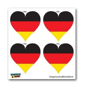 Germany German Flag Heart - Set of 4 - Window Bumper Laptop Stickers (German Flag Heart)