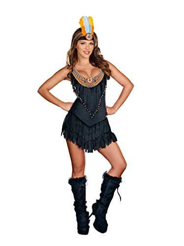 Pocahontas Halloween Costumes Women (Dreamgirl Women's Reservation Royalty Dress, Black, Medium)