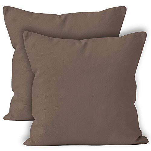 Encasa Homes Throw Cushion Cover 2pc Set - Taupe - 20 x 20 inch Solid Dyed Cotton Canvas Square Accent Decorative Pillow Case for Couch Sofa Chair Bed & Home
