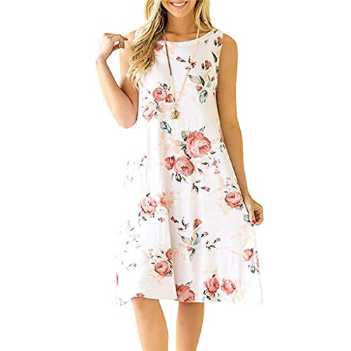 DLDY Women's Summer Casual Floral Loose T-Shirt Dress Sleeveless Swing Dress with Pockets (White, X-Large)